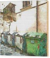 Dumpster Of Garbage Wood Print