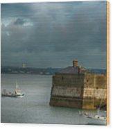 Dun Laoghaire Harbor Lighthouse Wood Print