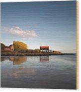 Dunaverty Rock Reflections Wood Print