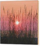Dune Grass Sunset Wood Print