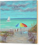 Dunes Beach Colorful Umbrella Wood Print