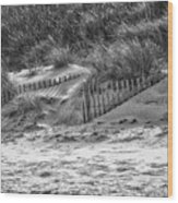 Dunes In Black And White Wood Print