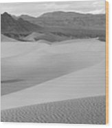 Dunes In The Valley Black And White Wood Print