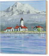 Dungeness Lighthouse With Mount Baker Wood Print