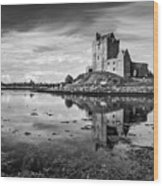 Dunguaire Castle In Black And White Wood Print