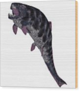 Dunkleosteus Fish On White Wood Print