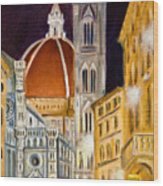 Duomo At Night Wood Print