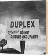 Duplex Yard Sign Stormy Sky In Bw Wood Print