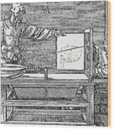 Durers Perspective Drawing Of A Lute Wood Print