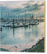 Dusk At Breskens Harbor Wood Print