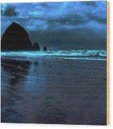 Dusk At Cannon Beach Wood Print