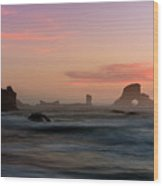 Dusk At Ecola Point Wood Print