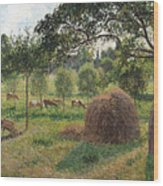 Dusk At Eragny Wood Print by Camille Pissarro