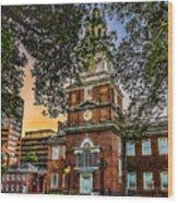 Dusk At Independence Hall Wood Print