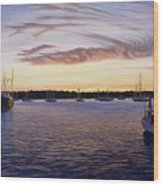 Dusk At Stonington Harbor Wood Print