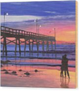 Dusk At The Pier Wood Print