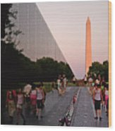 Dusk At The Viet Nam Veterans Memorial Wood Print