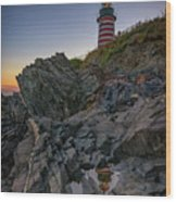 Dusk At West Quoddy Head Lighthouse Wood Print