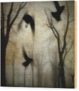 Dusk Begins As The Crows Fly Wood Print