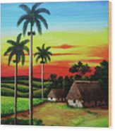 Dusk In A Cuban Countryside Wood Print