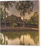 Dusk Light Preah Khan Temple Reflection Wood Print