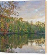 Dusk On Autumn Lake  Wood Print