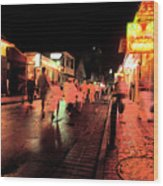 Dusk On Bourbon Street  Wood Print