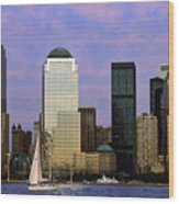 Dusk On Lower Manhattan Wood Print