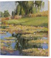 Dusk Over The Pond Wood Print