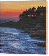 Dusk Stirred Depoe Bay Wood Print
