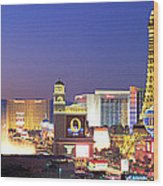 Dusk, The Strip, Las Vegas, Nevada, Usa Wood Print