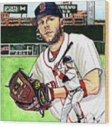 Dustin Pedroia Wood Print by Dave Olsen