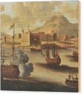 Dutch And English Warships Wood Print