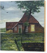 Dutch Farm At Dusk Wood Print