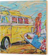 Dutch Holiday, Yellow Surf Bus Wood Print