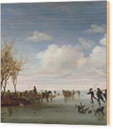 Dutch Landscape With Skaters Wood Print