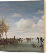 Dutch Landscape With Skaters Wood Print by Salomon van Ruysdael