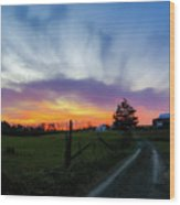 Dutch Lane In Evening Sky Wood Print