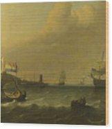 Dutch Men Of War Entering A Mediterranean Port Wood Print