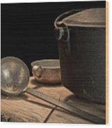 Dutch Oven And Ladle Wood Print by Tom Mc Nemar