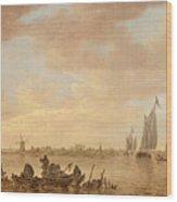 Dutch Seascape With Fishings Boats Wood Print