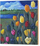 Dutch Tulips With Landscape Wood Print