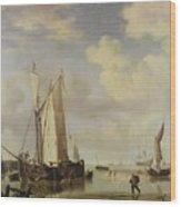 Dutch Vessels Inshore And Men Bathing Wood Print by Willem van de Velde