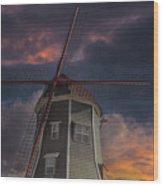 Dutch Windmill In Lynden Washington State At Sunset Wood Print