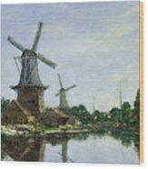 Dutch Windmills Wood Print by Eugene Louis Boudin