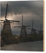 Dutch Windmills In Kinderdjik Wood Print