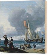 Dutchman Embarking Onto A Yacht Wood Print