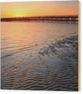 Duxbury Beach Powder Point Bridge Sunset Wood Print by John Burk