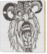 Dwarf Berserker Wood Print by Law Stinson