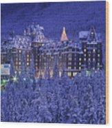 D.wiggett Banff Springs Hotel In Winter Wood Print